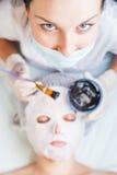 职业妇女,应用泥面罩的温泉沙龙的美容师 免版税库存照片