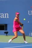 职业网球球员从瑞士的Belinda Bencic在圆的4比赛期间 库存图片