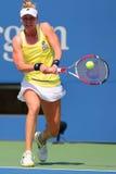 职业网球球员从美国的艾莉森Riske在美国公开赛2014比赛期间 图库摄影