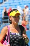 职业网球球员在第一次回合比赛以后的Agnieszka Radwanska在美国公开赛2014年 免版税库存照片