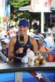 职业网球球员在采访中的Eugenie布查德与在美国公开赛的网球海峡2014年 免版税库存照片