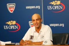 职业网球球员詹姆斯・布雷克宣布了他的退休在新闻招待会期间在美国公开赛2013年 免版税库存图片