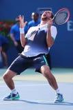 职业网球球员马林Cilic在美国公开赛2014年四分之一决赛比赛以后庆祝胜利 免版税库存照片