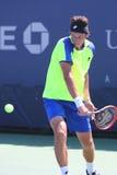 职业网球球员从乌克兰的Sergiy Stakhovsky在美国公开赛的第一次回合比赛期间2014年 库存照片
