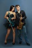 职业音乐家夫妇  库存照片