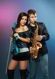 职业音乐家夫妇  库存图片