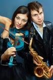 职业音乐家夫妇  免版税库存照片