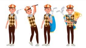 职业高尔夫球球员传染媒介 演奏高尔夫球运动员男性 不同的姿势 隔绝在白色漫画人物例证 皇族释放例证