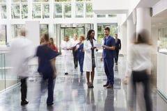 职员在现代医院繁忙的大厅地区  免版税库存图片