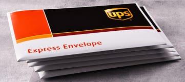联合包裹服务公司或UPS信封  免版税库存照片