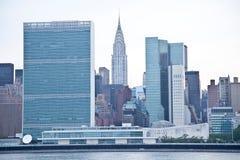 联合国大厦和帝国大厦在纽约 图库摄影