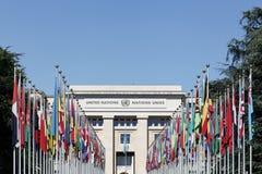 联合国宫殿在日内瓦,瑞士 免版税库存照片