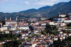 联合国科教文组织世界遗产市的看法欧鲁普雷图在米纳斯吉拉斯州巴西 免版税库存照片