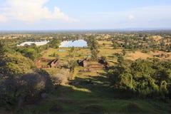 联合国科教文组织prasat wat phu寺庙重要世界遗产顶视图在南部的老挝 免版税图库摄影