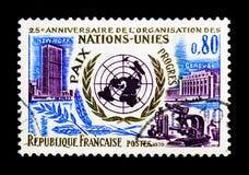 联合国-和平-进展 纽约-日内瓦, serie,大约1970年 免版税库存图片
