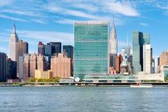 联合国总部大楼和其他摩天大楼在中间地区纽约 库存图片