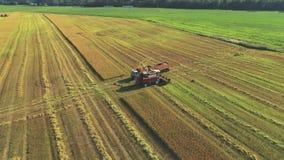 联合收割机卸载麦子入卡车 影视素材