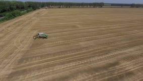 联合收割机鸟瞰图  油菜籽领域收获  股票视频