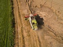 联合收割机-现代联合收割机鸟瞰图在收获麦子的在金黄麦田在夏天 免版税图库摄影