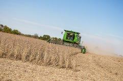 联合的大豆收获 库存图片