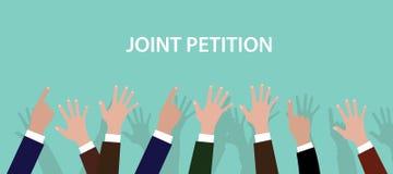 联合请愿概念例证用由空气决定的手有蓝色背景 免版税库存照片