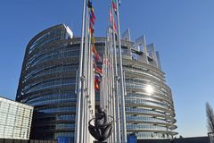 联合010的欧盟状态标志的旗子 库存图片