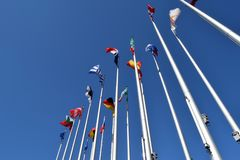 联合01的欧盟状态标志的旗子 免版税库存图片