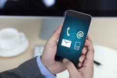 联络美国(用户支持热线人连接)电话Custo 免版税库存图片