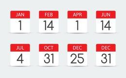 联邦假日日历在美国 库存例证