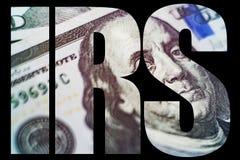 联邦税务局宏指令关闭本富兰克林在美国100美金的` s面孔 库存照片