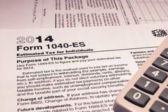 联邦税务局形式1040-ES 库存图片