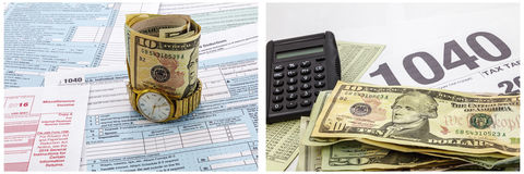 联邦税务局报税表现金时钟计算器 库存照片