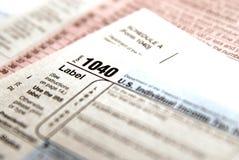 联邦税务局的报税表1040 库存照片