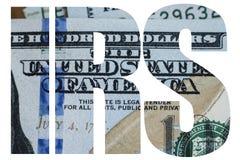 联邦税务局,美国金钱宏指令关闭本富兰克林在美国100美金的` s面孔 库存照片