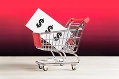 联锁杂货店、大型超级市场和超级市场食物价格 免版税图库摄影