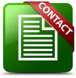 联络页象绿色正方形按钮 免版税图库摄影