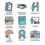 聘用处理象集合w清单,握手, t的新的雇员 向量例证