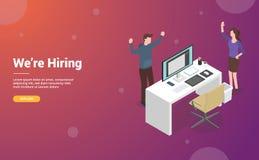 聘用或聘用与空的书桌和椅子的设计师或图形设计概念网站或网模板着陆设计的-传染媒介 皇族释放例证