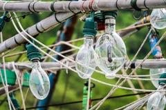 聚光灯在渔船和乌贼钓鱼垂悬对加州 免版税图库摄影