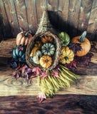 聚宝盆用南瓜、金瓜、南瓜和麦子 免版税图库摄影
