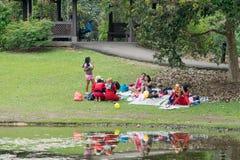 聚集在树下的女孩由池塘 图库摄影