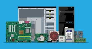 聚集的个人计算机 个人计算机的硬件 向量例证