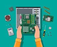 聚集的个人计算机 个人计算机的硬件 皇族释放例证
