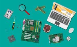 聚集的个人计算机 个人计算机的硬件 库存例证