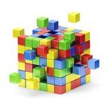 聚集的五颜六色的立方体结构。概念。 向量例证