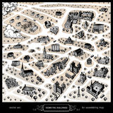 聚集的地图的等量大厦 免版税图库摄影
