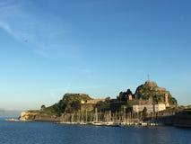 聚集从科孚老堡垒,希腊的燕子 库存照片