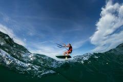 聪慧的夜间风筝星期日冲浪者 库存图片