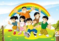 聪慧的快乐的日孩子 免版税库存图片