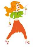 聪慧的礼服女孩头发的红色 库存图片